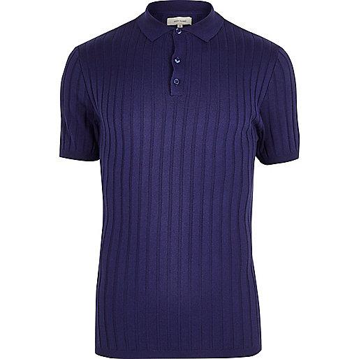 Polo côtelé violet coupe près du corps