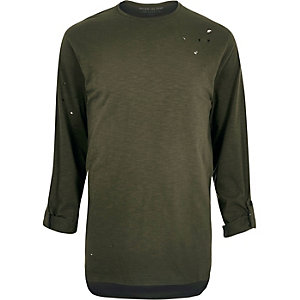 Khaki green nibbled longline T-shirt