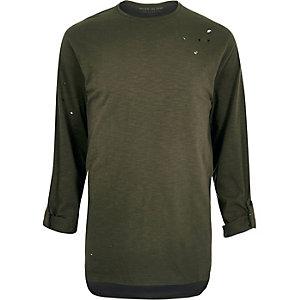 Khaki green nibbled longline T-shirt