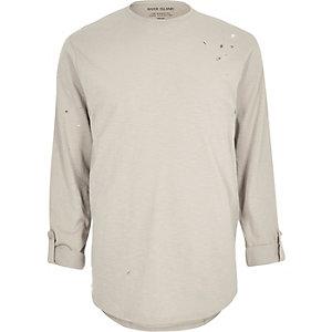 Stone nibbled longline T-shirt