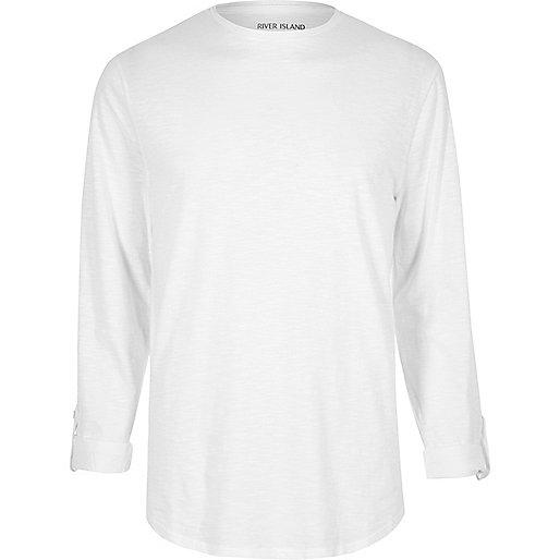 T-shirt en coton blanc à manches longues