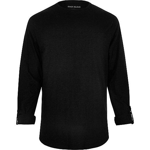 Langärmliges, schwarzes T-Shirt aus Baumwolle