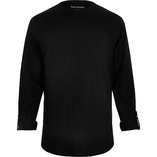 Black cotton long sleeve T-shirt
