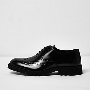 Black patent leather chunky brogues