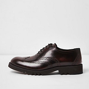 Dark red patent leather chunky brogues