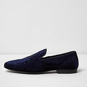 Slippers en velours bleu marine