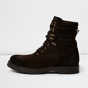 Dark brown suede combat boots