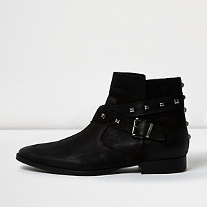 Black leather stud strap boots