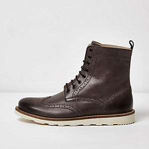 Grey leather high ankle brogue boots