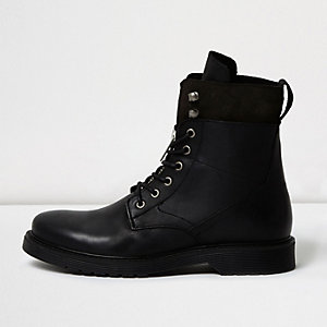 Black leather panel work boots
