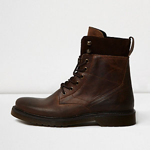 Brown leather panel work boots
