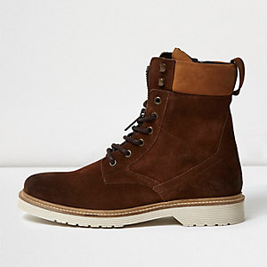 Brown suede tall combat boots