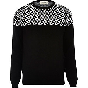Black geo print crew neck sweater