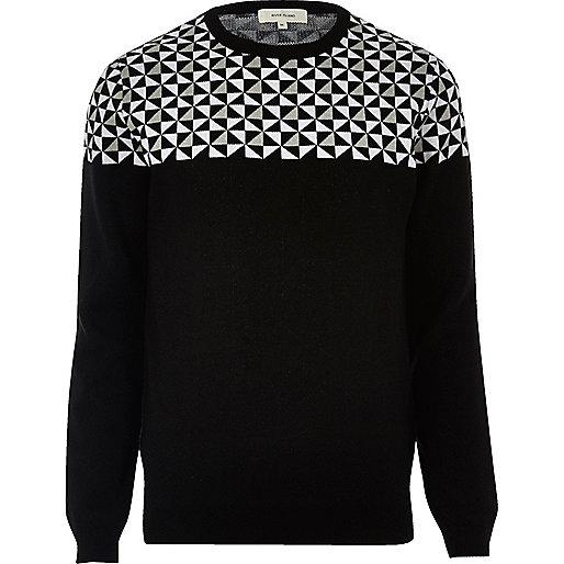 Black geo print crew neck sweater