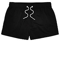 Black slim fit swim trunks