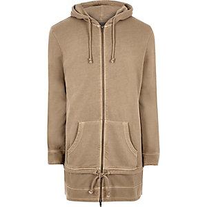 Stone extreme longline zip up hoodie