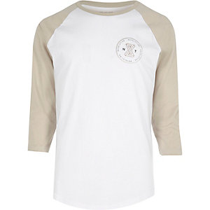 White and sand raglan T-shirt
