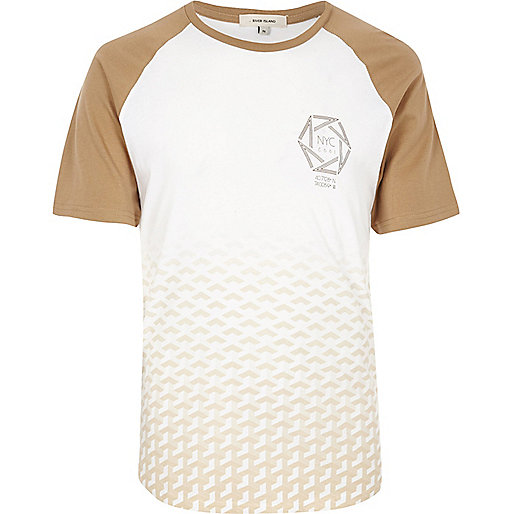 White camel fade raglan T-shirt