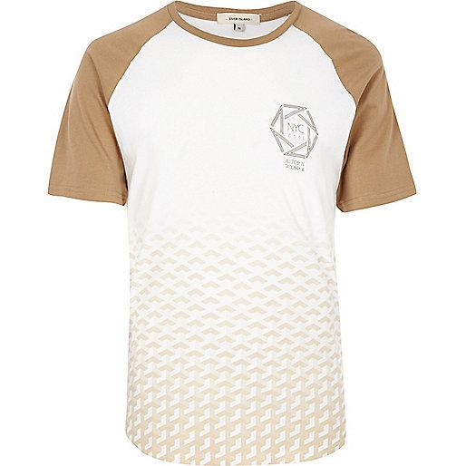 Raglan-T-Shirt in Weiß und Camel