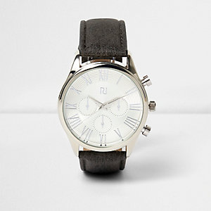 Grey grainy classic watch