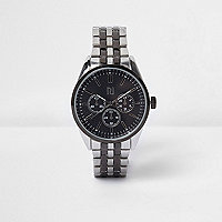 Multi silver tone chain watch