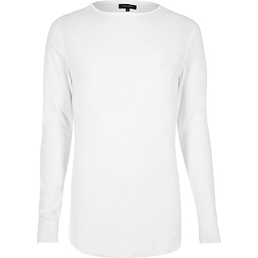 White waffle muscle fit long sleeve T-shirt