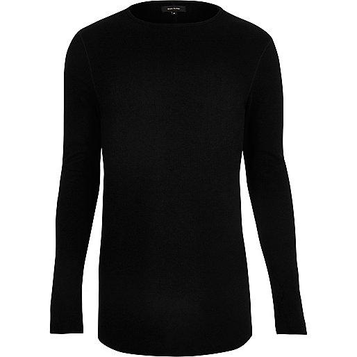 T-shirt noir ajusté gaufré à manches longues