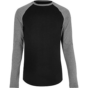 Black raglan muscle fit long sleeve T-shirt
