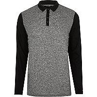 Grey block polo sweater