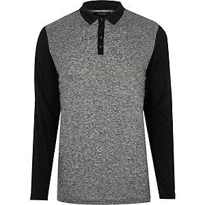 Grey block polo jumper