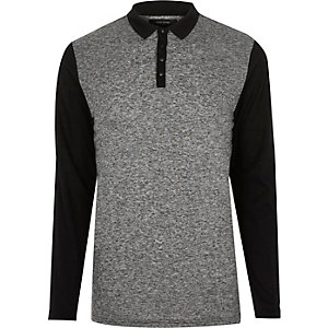 Grey block polo sweater