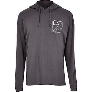 Grey LA print soft hoodie