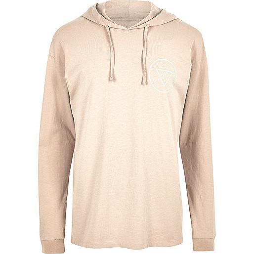 Langärmliges Kapuzen-T-Shirt mit Muster