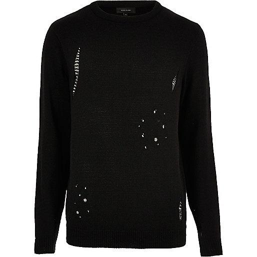 Black distressed jumper