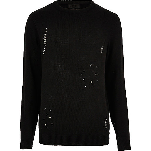 Schwarzer Pullover im Used-Look