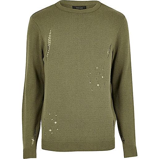 Dunkelgrüner Pullover im Used-Look