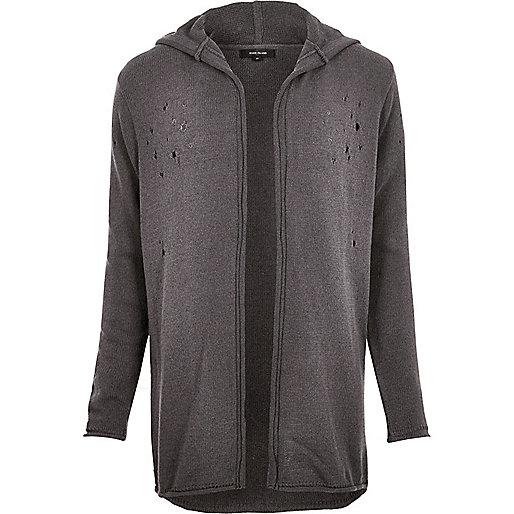 Dark grey distressed longline cardigan