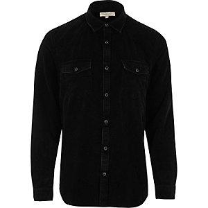 Chemise en velours côtelé noire style Western