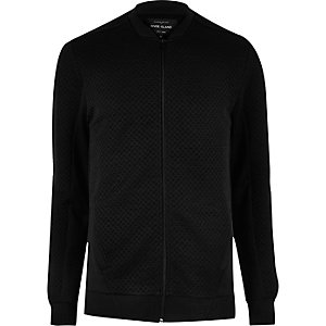 Black textured bomber jacket