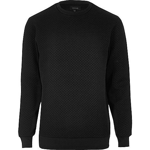 Schwarzes, strukturiertes Sweatshirt