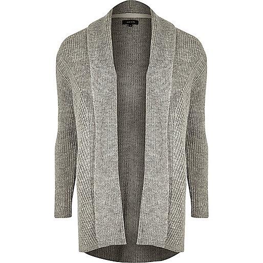 Grey ribbed cardigan