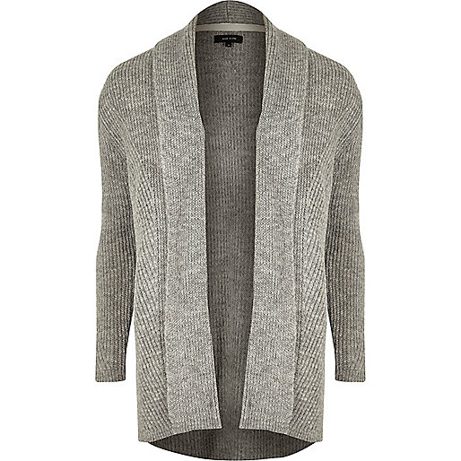 Cardigan en laine mélangée gris côtelé