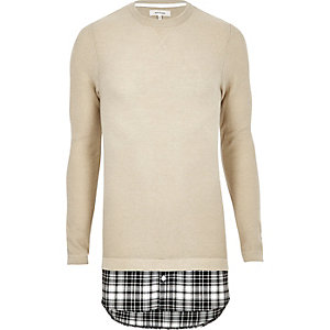 Stone check insert double layer sweater