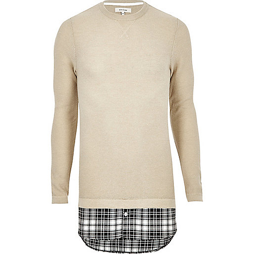 Stone check insert double layer jumper