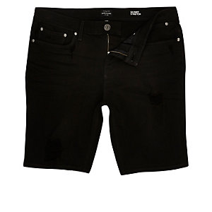 Schwarze Skinny Jeans-Shorts im Used-Look