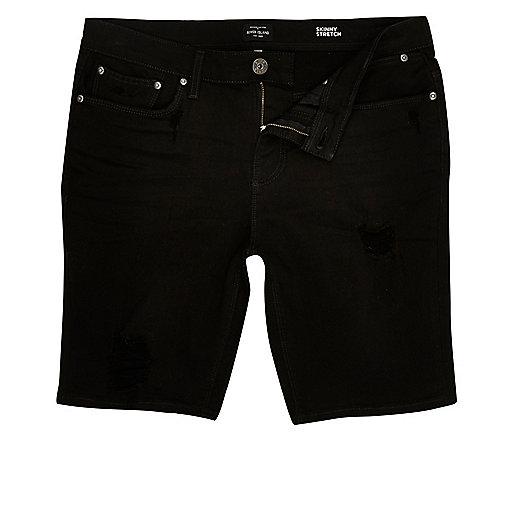 Black distressed skinny denim shorts