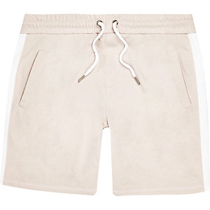 Ecru stripe casual shorts