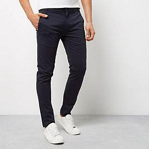 Pantalon chino skinny bleu marine