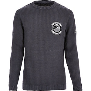 Black ribbed badge sweater
