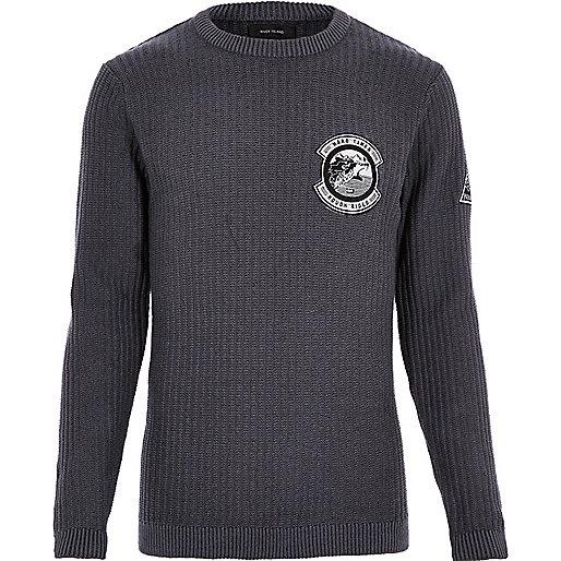 Black ribbed badge sweater